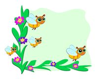 Frame of Bees and Plants. Here is a cute frame of Bees and Plants stock illustration