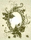 Frame bege de Grunge com folhas do outono. Acção de graças Foto de Stock Royalty Free