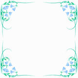 Frame with bells. And stems on a white background Stock Photo