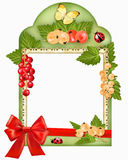 Frame with berries and bow Royalty Free Stock Images