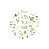 Frame with berries, leaves and fruits vector illustration