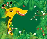 Frame with big giraffe. Vector illustration. Green color stock illustration