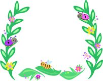 Frame of Big Leaves, Bees, Ladybugs, and Butterfli Stock Image