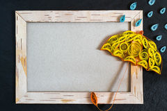 Frame from birch bark, umbrella and rain drops in the technique Royalty Free Stock Images