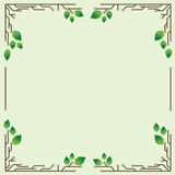 Frame with birch leaves Royalty Free Stock Photography