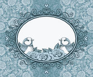 Frame with bird and flower on background of lace and heart Royalty Free Stock Photography