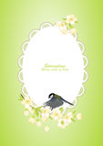 Frame with bird on flowering branches Royalty Free Stock Photo