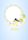 Frame with bird on flowering branches Stock Photography