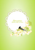 Frame with bird on flowering branches Stock Photos