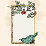 Frame with bird and roses Royalty Free Stock Photography