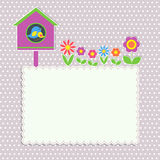 Frame with birdhouse. With family of birds and flowers Stock Photo