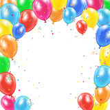 Frame from birthday balloons on white background Royalty Free Stock Images