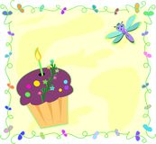Frame of Birthday Cupcake and Dragonfly Royalty Free Stock Photos