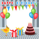 Frame with birthday elements Royalty Free Stock Image