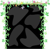 Frame of Black Rocks, Vines, Flowers and Butterfly Stock Image