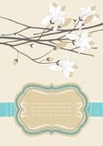 Frame and Blooming Branch. Old-fashioned frame and blooming branch Royalty Free Stock Photography