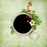 Frame with blooming bush of strawberries Royalty Free Stock Image