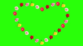 Frame of blooming roses time-lapse heart with green screen. Royalty Free Stock Photo