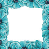 Frame of blue anemones Stock Photography