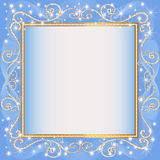 Frame blue background with gold(en)(en) sample Royalty Free Stock Images
