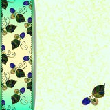 Frame of blue blackberries. Green marble background with blackberries and leaves. For the greeting card, menu, invitation to wedding. Eps 10 Stock Photos