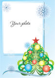 Frame blue with christmas tree and snowflakes royalty free stock photos