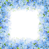 Frame with blue flowers. Vector illustration. Stock Photo