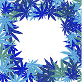 Frame with blue leaves. Frame with blue marijuana leaves Stock Image