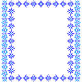 Frame, blue patterns on canvas Stock Images