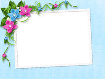 Frame with blue and pink orchids. Frame for photo with blue and pink orchids Royalty Free Stock Image