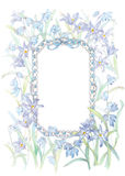 Frame with Blue Ribbon and Lilies Royalty Free Stock Images