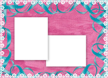 Frame with blue ribbon on the pink background. White frame with blue ribbon and laces on the pink background Stock Photo