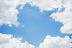 Frame of blue sky and cloud background. Royalty Free Stock Photography