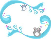 Frame of Blue Swirls, Mice, and Bubbles Royalty Free Stock Photo