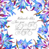 Frame with blue watercolor lilies. Royalty Free Stock Photos