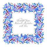 Frame with blue watercolor lilies. Stock Photos