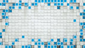 Frame of blue and white 3D cubes and free space. Frame of blue and white cubes and free space. Abstract geometric background. 3D rendering Stock Images