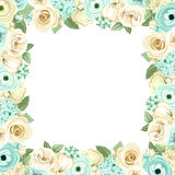 Frame with blue and white flowers. Vector illustration. Stock Photo