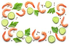 Frame of boiled prawns and fresh cucumber Stock Photography