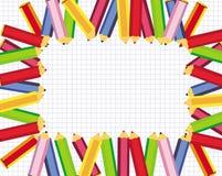 Frame bonito com os lápis coloridos para a escola Fotografia de Stock Royalty Free