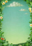 Frame bonito das flores e das folhas. ilustração stock
