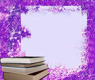 Frame and books, ideal for school congratulations. Light frame with rip edges on blue violet background Stock Photo