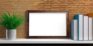 Frame and books on a white shelf. 3d illustration Stock Photo