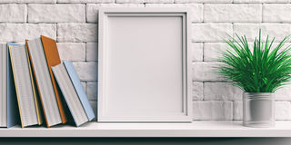 Frame and books on a white shelf. 3d illustration. Frame and books on a white shelf - bricks wall background. 3d illustration Royalty Free Stock Images