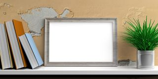 Frame and books on a white shelf. 3d illustration. Frame and books on a white shelf - painted wall background. 3d illustration Royalty Free Stock Photos