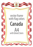 Frame and border  with the coat of arms and ribbon with the colors of the Canada flag Royalty Free Stock Image