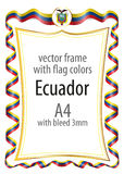 Frame and border  with the coat of arms and ribbon with the colors of the Ecuador flag Royalty Free Stock Images