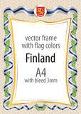 Frame and border  with the coat of arms and ribbon with the colors of the Finland flag Stock Photography