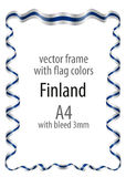 Frame and border  with the coat of arms and ribbon with the colors of the Finland flag Royalty Free Stock Images