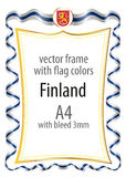 Frame and border  with the coat of arms and ribbon with the colors of the Finland flag Stock Photo